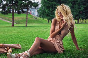 eauty blonde alone young woman