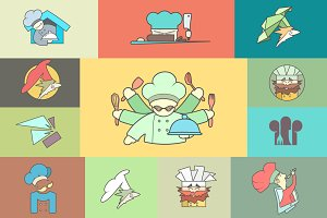 Restaurant Chef flat icon Set