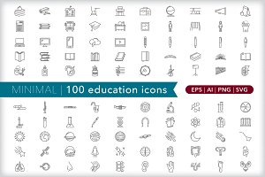 Minimal 100 education icons