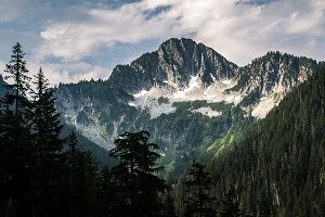 Mountain towering over valley