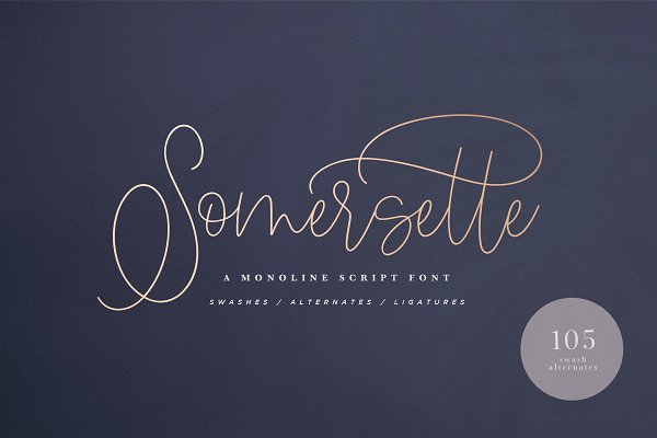 Script Fonts: Luna Paper Co. - Somersette Script Font (INTRO SALE)