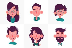 Face people cartoon collection