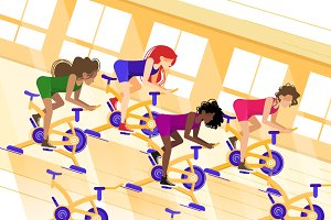 Group workout on stationary bike
