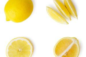 Fresh lemon, half and sliced valleys
