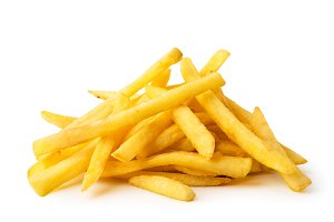 A bunch of fried French fries