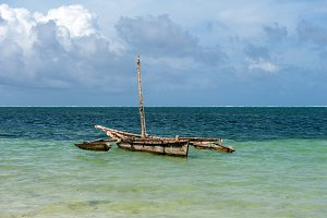 Old wooden dhow, fishing boats in th