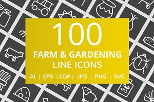 100 Farm & Gardening Line Icons