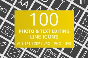 100 Photo & Text Editing Line Icons