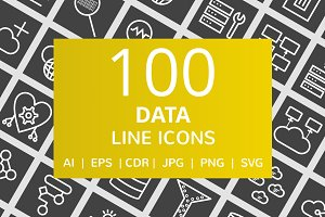 100 Data Line Inverted Icons