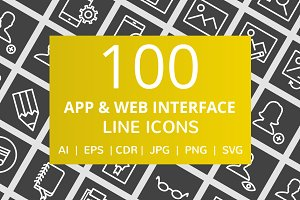 100 App & Web Interface Line Icons