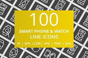 100 Smartphone & Watch Line Icons
