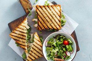 Chicken arugula sandwiches