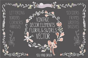 Vintage Doodles floral decor set