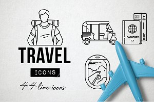 44 Travel Line Icons Pack