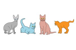 Cat different breeds set
