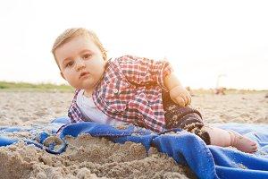 Curious child on the beach