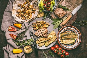 Rustic foods plates on table