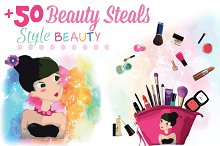 Cosmetics makeup collection mockup