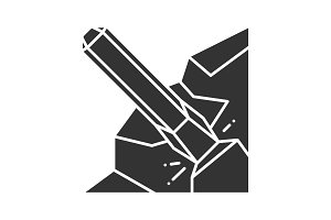 Iron chisel glyph icon