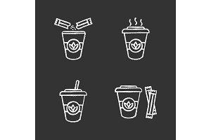 Tea drinks chalk icons set