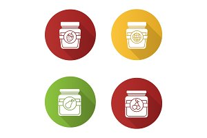 Fruit preserves icons set
