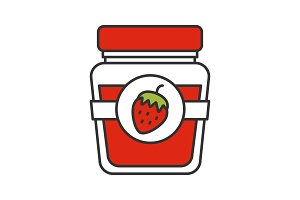 Strawberry jam jar color icon