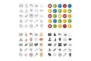 Tattoo studio icons set