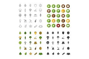 Tree types icons set