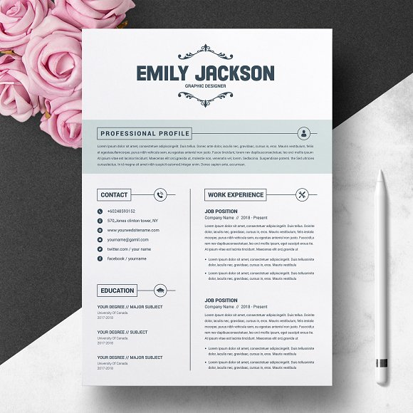 CV Template With Cover Letter ~ Resume Templates ~ Creative Market
