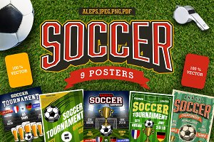 Set of 9 soccer poster