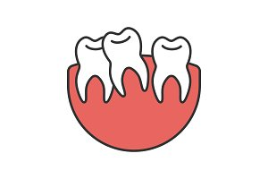 Crooked teeth color icon