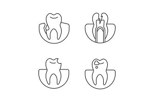 Dentistry linear icons set