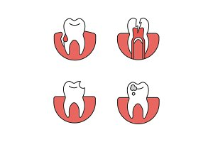 Dentistry color icons set