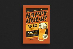 Retro Happy Hour Beer Event Flyer