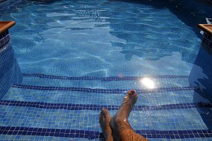 Resting in the swimming pool