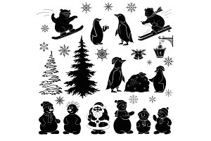 Christmas cartoon, set black