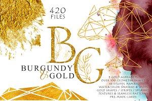 Burgundy & Gold Graphic Set