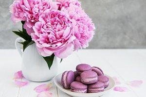 Pink peony with macarons