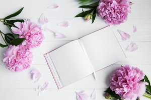 note book with peonies