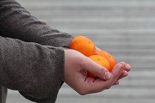 Hands holding fresh fruit