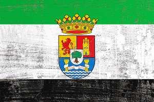 scratched Extremadura flag