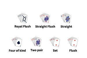 Big set of poker cards combinations