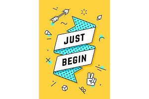 Just Begin. Vintage ribbon banner