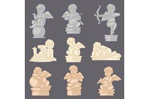 Angel statue vector angelic cupid