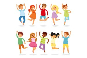 Jumping kids vector yong child