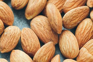Fresh almond nuts. Food background.