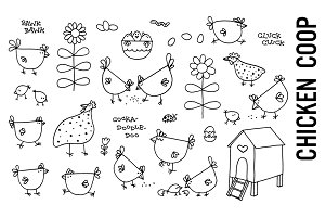Chicken Coop Doodle Illustrations