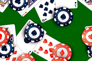 Bright casino chips and poker cards