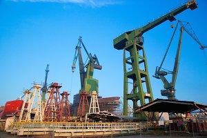 Cranes at shipyard, Gdansk, Poland