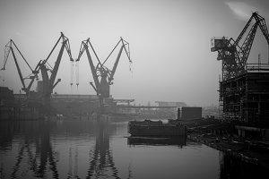 Cranes in shipyard, Gdansk, Poland